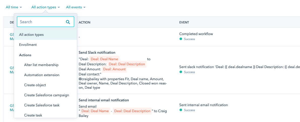 hubspot deal workflow action types