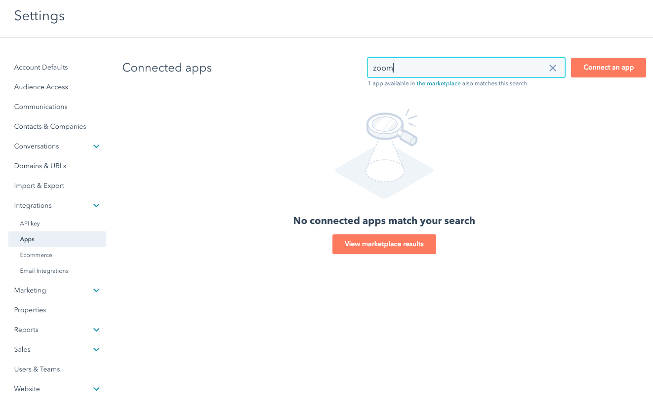 hubspot zoom connection error 1